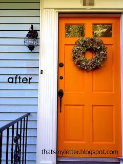 orange front door after