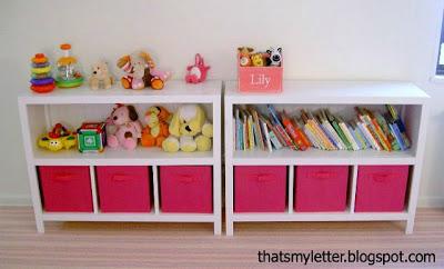 diy bookshelves with fabric bins