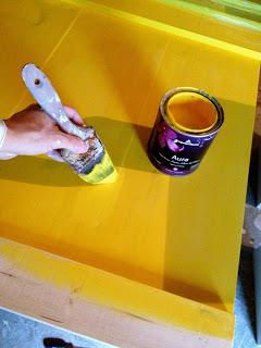 painting a farmhouse headboard yellow