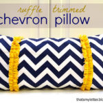 DIY Ruffle Trimmed Chevron Pillow