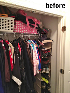 diy mudroom closet before hanging shoe organizer