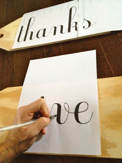 tracing font onto wood tags