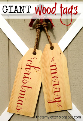 giant wood tags with merry christmas painted on front