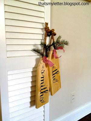 large wood tags hanging on knob