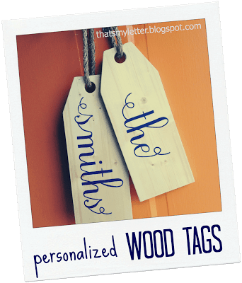 personalized wood tags with last name
