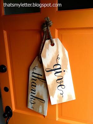 wooden tags on front door