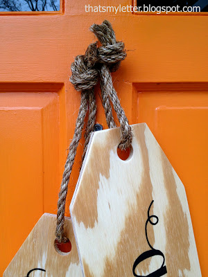 wood tags hanging with jute rope
