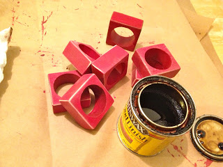 staining painted wood napkin rings