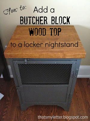 butcher block wood top on metal nightstand