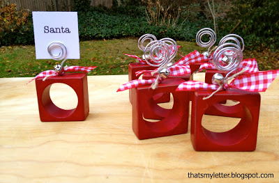 diy wood napkin ring placecards with bells