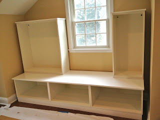 assemble cabinets in playroom