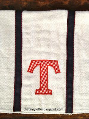 single monogram with ribbon trim