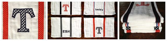 burp cloth monogram options