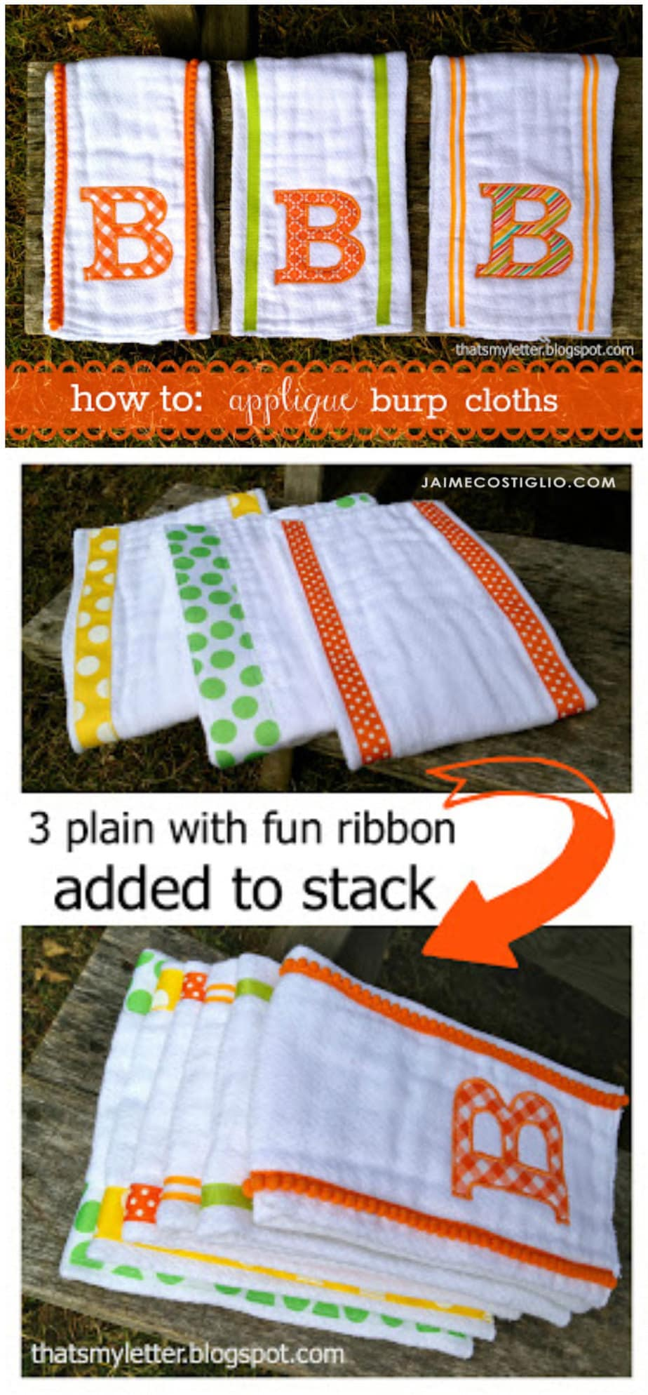 how to applique burp cloths