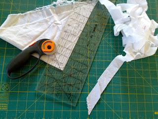 bias cut strips to make ruffle