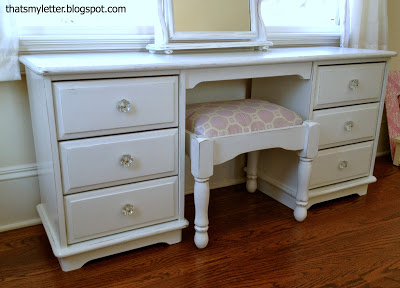 kids dressing table distressed white