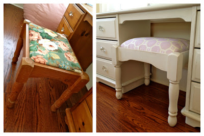 dressing table stool before and after