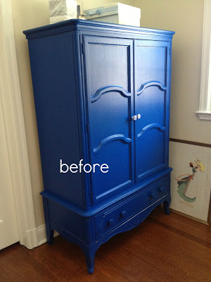 bright blue painted armoire