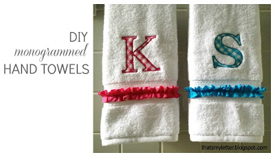 diy monogrammed hand towels with ruffle
