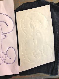 diy monogram on fabric