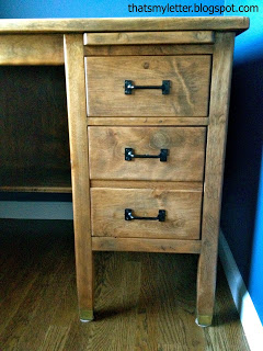vintage teachers desk drawers with black pulls