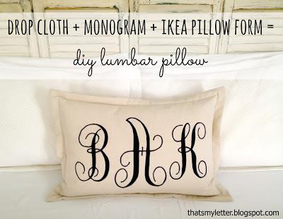 diy monogrammed lumbar pillow
