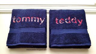 full name monogram on bath towels
