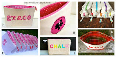 personalized pouches with zig zag stitch monogram