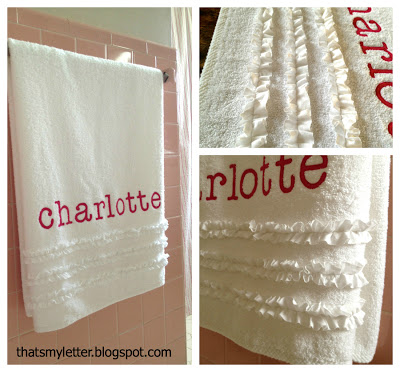 full name personalization on bath towel with ruffle detail