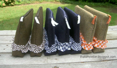wool zipper pouches with ruffle detail