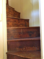 primitive farmhouse original steep staircase