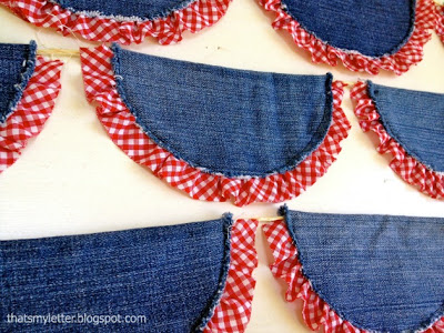 repurposed jeans into bunting