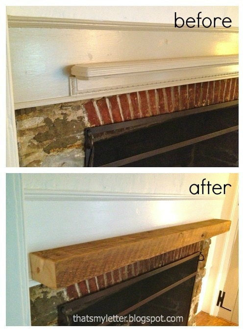 antique farmhouse mantel before and after