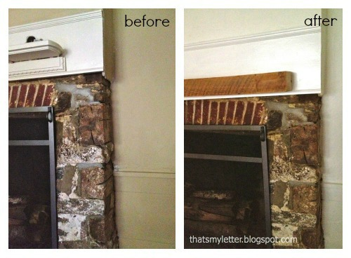 primitive farmhouse mantel before and after corner