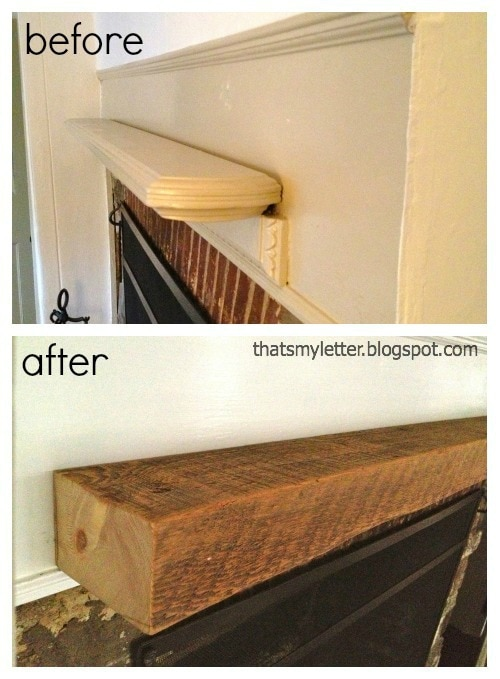 primitive farmhouse mantel before and after profile