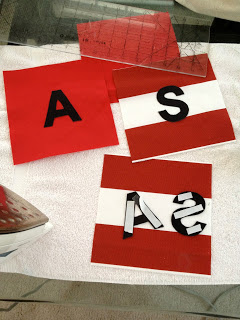attach letters using double sided fusible interfacing