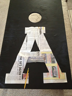 newspaper pattern for personalizing beanbag toss game
