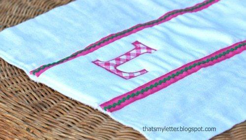 diy monogrammed cloth diaper burp cloths