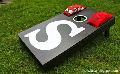 monogrammed beanbag toss game board