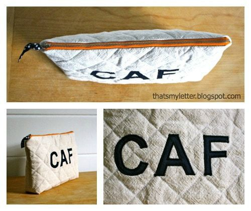 diy quilted drop cloth zipper pouch
