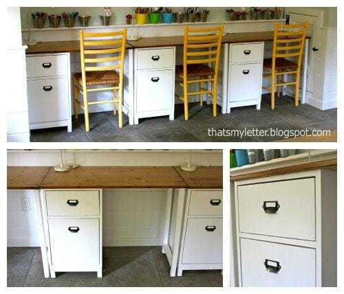 schoolhouse desks in playroom collage