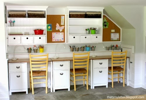 kids schoolroom desk and wall hutch
