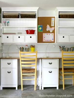 diy kids schoolhouse desk with wall hutch
