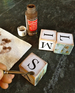 aging wood blocks with acrylic paint