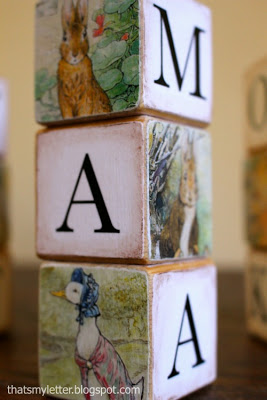 diy alphabet blocks using Beatrix Potter images