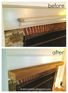 dining room mantel before and after