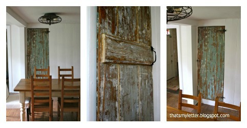 diy stripped farmhouse door in dining room