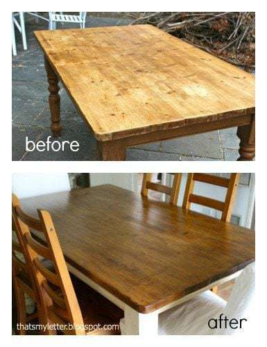 farmhouse table before and after
