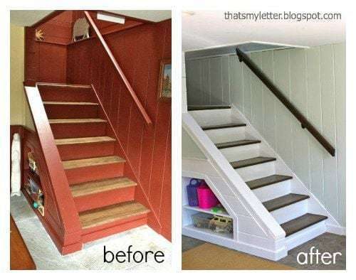 handrail makeover before and after