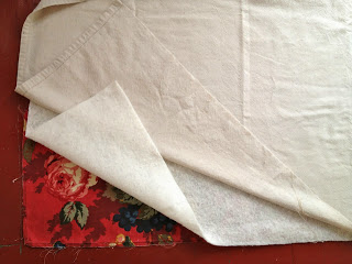 cut batting and drop cloth using pattern
